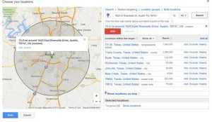 Google Adwords radius targeting