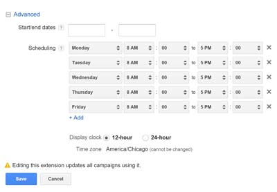 Schedule your text message ads in AdWords.