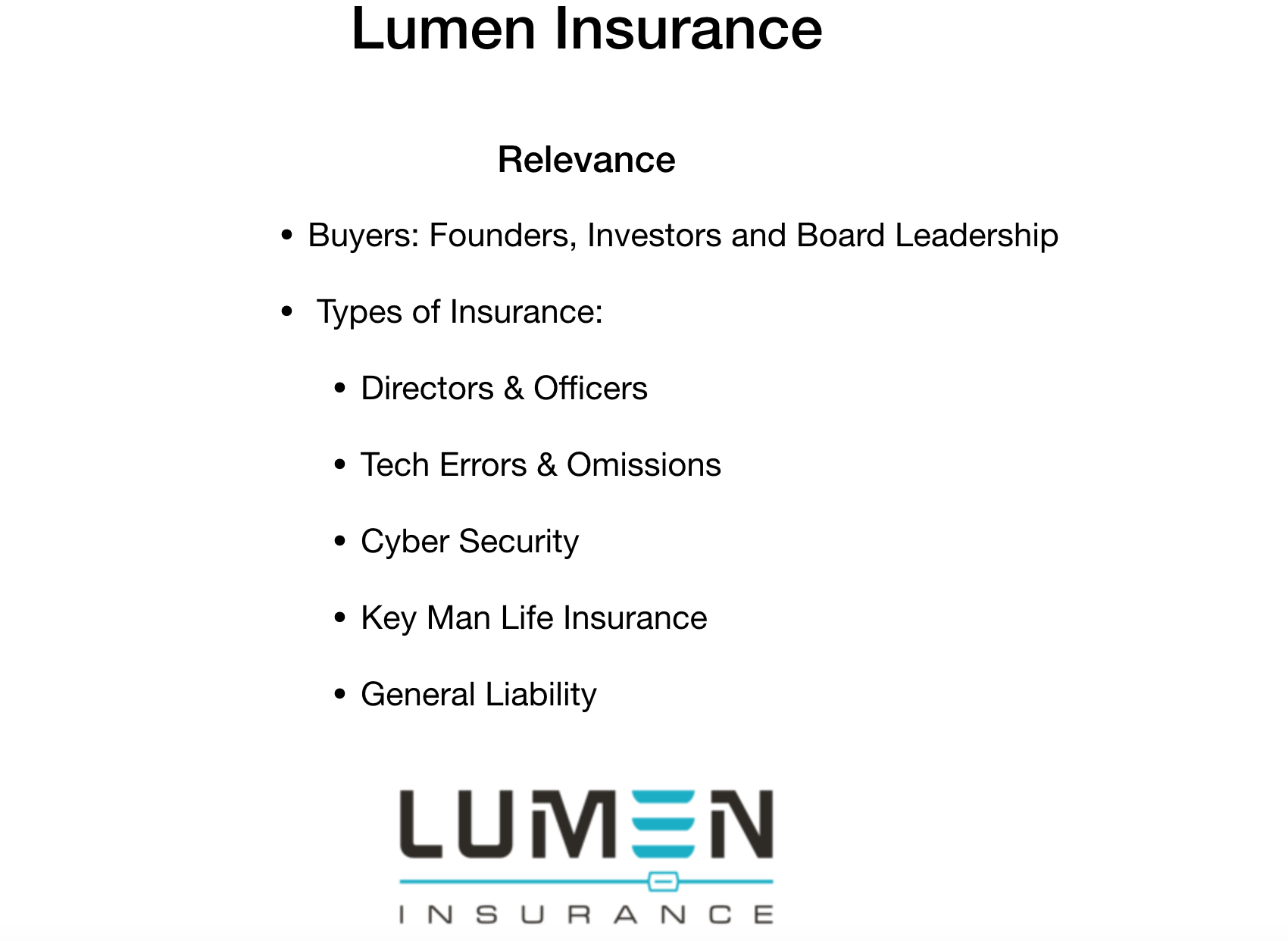 Lumen Insurance tech startup insurance services.