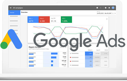 Google Ads interface and tracking.